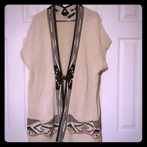 Fylo long vest sweater tribal Aztec pattern xxl